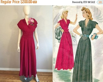 BI-ANNUAL SALE It's Time to Celebrate - Vintage 1940s Ww2 Claret Red Rayon Long Evening Gown w/Smocked Waist - 2/4
