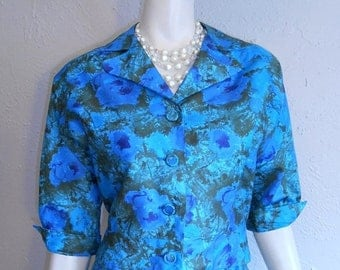 Anniversary Sale 35% Off Joan Leads the Meeting - Vintage 1960s Silk Blue & Green Floral Suit Set Jacket Skirt - 10/12