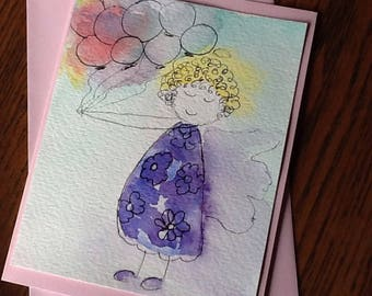 Renee Balloon  Angel Watercolor Gift or Note Card