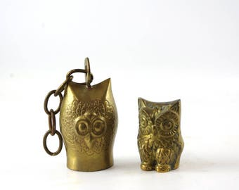 Vintage Brass Owl Figurines, Bird Decor, Brass Bell, Boho Chic Decor