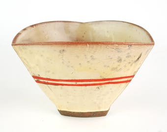 Tri Serving Bowl with Red Stripes