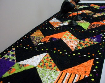 Halloween Table Runner Quilted FREE US Shipping Quiltsy Handmade Haunted House Candy Black Orange Purple Green