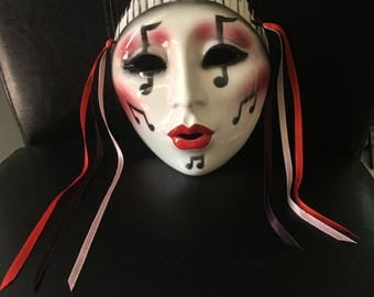 Vintage About Face, Division of Clay Art Ceramic Lady Music Ceramic Mask