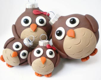 Set of FOUR Owl Family Christmas Ornaments