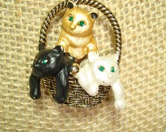Fancy Basket Full of Kittens Golden Pin.