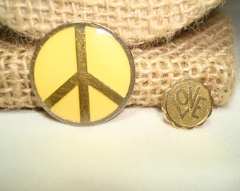 1970's PEACE and LOVE Lapel Pins.