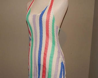 ON SALE 90s Colorful Net Crochet Knit Halter Swimsuit Cover-up
