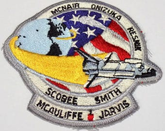 1986 Final Mission Challenger Space Shuttle Iron On Patch, NASA STS-51-L, Last Challenger Flight, Swiss Embroidery