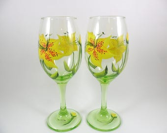 Wine Glasses Yellow Tiger Lily Flowers Hand Painted Lime Green Set of 2