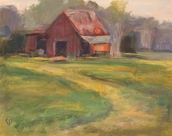 Plein Air, Red Barn, Nashville, Tennessee, Leiper's Fork, Landscape Painting, Farm Scene, Original Oil, Farm Land, Farmhouse Decor, Original