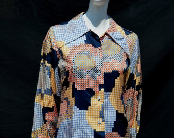 Vintage NOS 70's OP ART blouse top never used new Vasarely inspired novelty print polyester sM