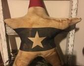Primitive handmade grungy Americana star pillows