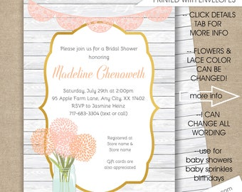 Rustic Baby Shower Invitations, ANY COLOR, free shipping, floral lace wood baby shower invites, boy girl neutral