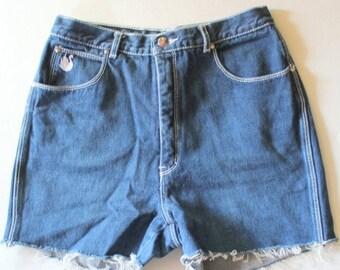 50% half off sale // Vintage 80s Dark Blue Cut Off Jean Shorts // Women Small // Gloria Vanderbilt for Murjani