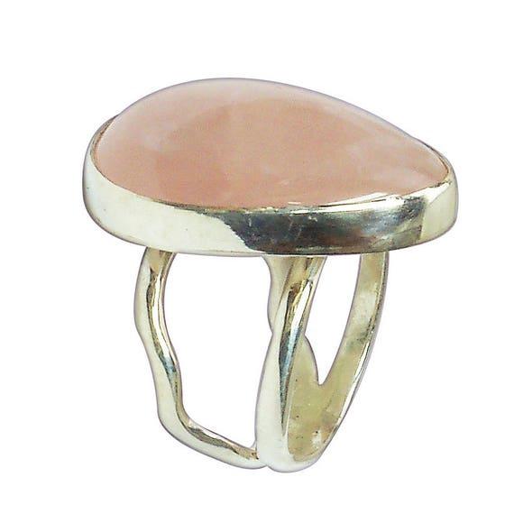 Rose Quartz Ring Set in Sterling Silver, Size 7*1/2  r75rqg2850