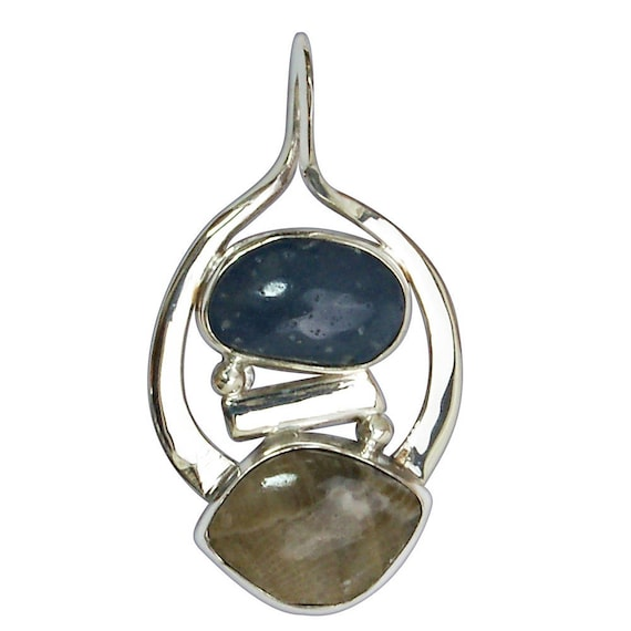Petoskey Stone & Leland Bluestone Two Stone Pendant set in Sterling Silver  ppklbf2880