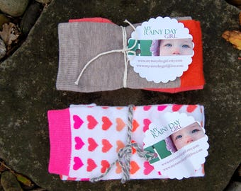 SALE - Two Pack - Baby, Toddler Leg Warmers for Girls - Valentine Heart Pattern and Rustic Pumpkin - Two Sets