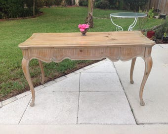 """VINTAGE LARGE DESK / Hollywood Regency Desk with One large Drawer /54"""" long Light Wood Blue accents / French Shabby Chic at Retro Daisy Girl"""