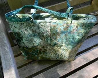 Large Green Batik Handbag/Shoulder Bag OOAK