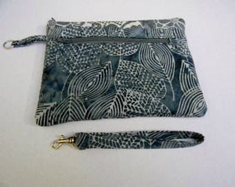 Gray Leaves Zipper Pouch with Detachable Handle