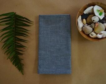 dark blue grey chambray, organic cloth napkins, organic cotton, hemp, set of 2, organic napkins, blue cloth napkins, everyday napkins,