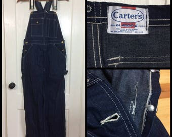 1970's indigo blue denim Carter's overalls 36x31 Union Made in USA Selvedge Talon zipper barely used watch the wear