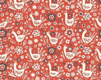 Organic KNIT Fabric - Birch Folkland Knit - Phesants Knit