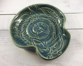 Ceramic Spoon Rest, Stoneware Spoon Rest with Dahlia Flower Carving in Teal, Ready to Ship
