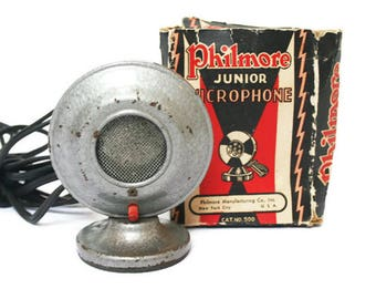 Vintage Microphone  /  Recording Studio Display or Industrial Decor  /  Child's Junior Microphone /  Made by Philmore  /  Media Room Decor
