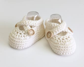 Baby Ballet Shoes in White Merino Wool