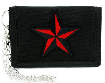 Red Nautical Star Tri-fold Wallet Alternative Clothing Tattoo Rockabilly Symbol - YDS-EMPA-048-RED-Wallet