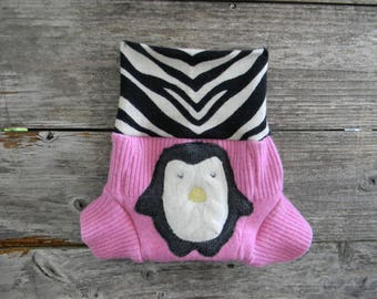 Upcycled Wool Soaker Cover Diaper Cover With Added Doubler Pink/ Black & White With Penguin Applique SMALL 3-6M Kidsgogreen