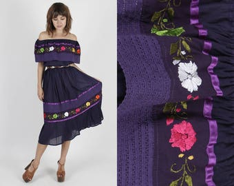 Mexican Dress Embroidered Dress Boho Dress Purple Dress Crochet Dress Vintage 70s Dress Lace Floral Fiesta Dress Hippie Party Mini Dress