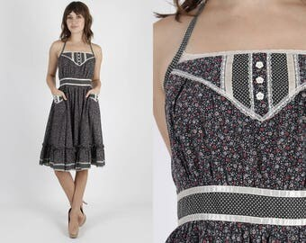 Gunne Sax Dress Black Dress Calico Print Bohemian Dress Boho Dress Corset Sun Dress Vintage 70s Tiny Floral Hippie Prairie Sun Mini Dress S