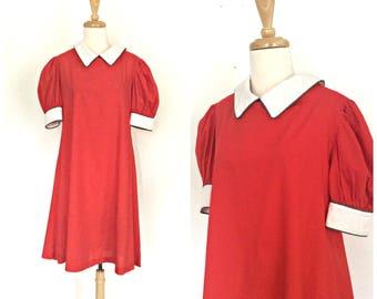 Vintage Shift Dress - snow white - aline -cotton - Veruca Salt - mod - red dress - L XL