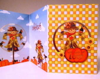 Handmade Fall Card - Thoughts of Autumn Trifold Scarecrow HAPPY BIRTHDAY PUMPKIN!