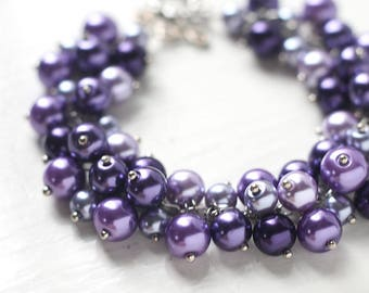 Purple Wedding Bridesmaids Jewelry, Pearl Cluster Bracelet - Purple Seduction