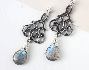 Labradorite Earrings,  Art Deco Dangle Earrings in Sterling Silver