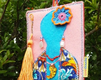 Travel tag with inspired in Frida Kahlo, shabby chic colorful luggage tag