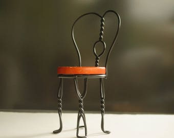 Miniature Chair, Vintage Chair, Ice Cream Parlor Chair, Primitive Folk Art, Doll Furniture, Folk Art Chair, Wrought Iron, Parlor Chair
