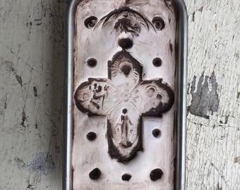 OOAK One Of A Kind Handmade Large Clay Cross Pendant Lowbrow Repurposed Art Catholic Folkart