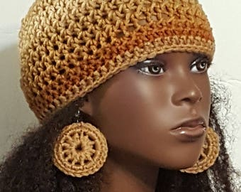 Earth Tones Crochet Skullcap Beanie and Earrings by Razonda Lee Razondalee
