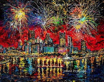 Fireworks, 4th of July, Pittsburgh fireworks, Celebrate art, Game room wall art, Man cave wall art, Johno Prascak, Johnos Art Studio