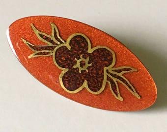 Jules Perrier Enamel Brooch, Vintage Jewelry, Small Floral Brooch, Vintage Brooch Pin, Red Orange Gold Pin, Quebec Artist, Canadian Jewelry