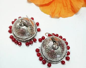 Maroon Bead Drops  Ethnic Traditional Indian Simple Elegant Alloy Dangler Jhumkas