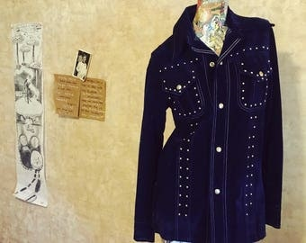 Vintage 70s Midnight Navy Blue Velvet Mod Squad Jacket   mens womens small medium