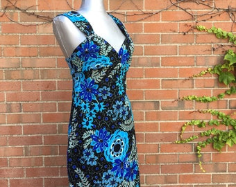 70s Blue Black Crepe Maxi Dress with Flowers  small
