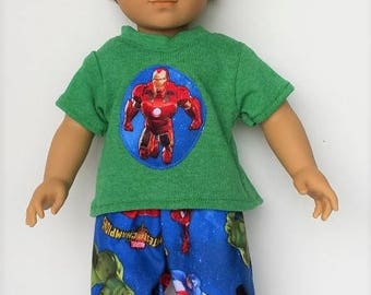 "Fits 18"" Doll, American Boy, Ironman 2 piece pajama set"