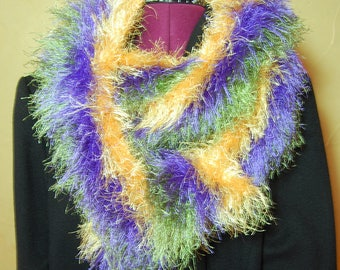 Mardi Gras Fun Fur Long and Fuzzy Scarf,  Hand-knit