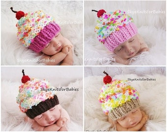 Newborn Photography Prop Hat, Newborn Cupcake Hat, Knit Baby Cupcake Hat, Infant Cupcake Hat, Baby Cupcake Hat, Knit Hat, Newborn Photo Prop
